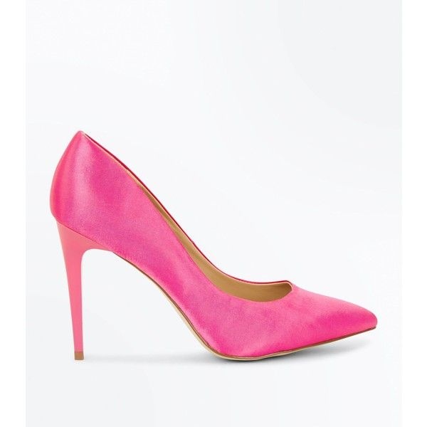 Pink Satin Pointed Court Shoes ($30) ❤ liked on Polyvore featuring shoes, pumps, bright pink, slip-on shoes, pink satin pumps, pink shoes, pointed toe stilettos and satin pumps