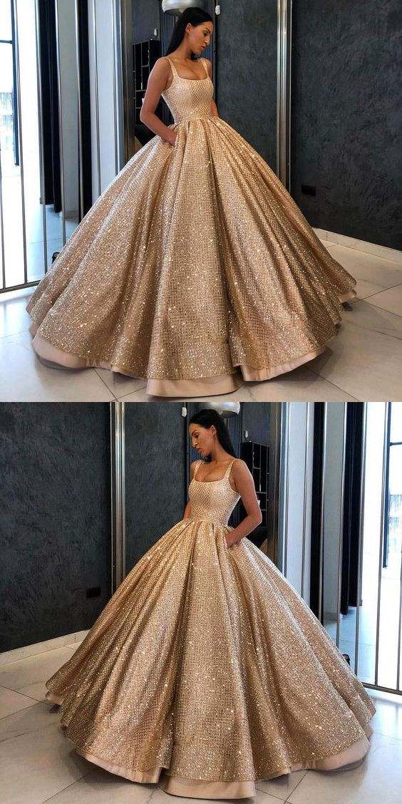 98ad07637d92e Ball Gown Prom Dress With Beads Sequins Floor-Length Gold Quinceanera Dress  Sweet 16 Dresses for Girls N10508