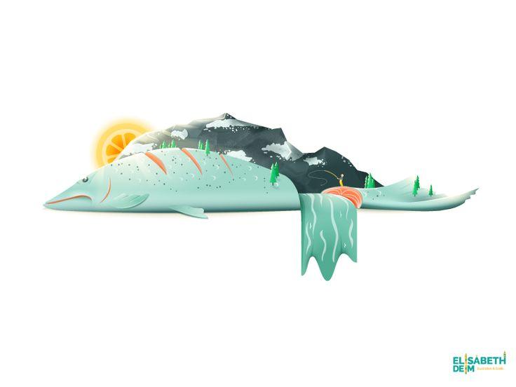Salmon River Hills / Food Illustration von ELISABETH DEIM