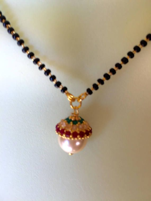 Mangalsutra with Pearl Pendant Black Beads Chain Wedding