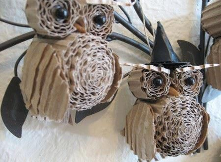 Cardboard owls - these will be going on my Harry Potter themed Christmas tree when I get one.