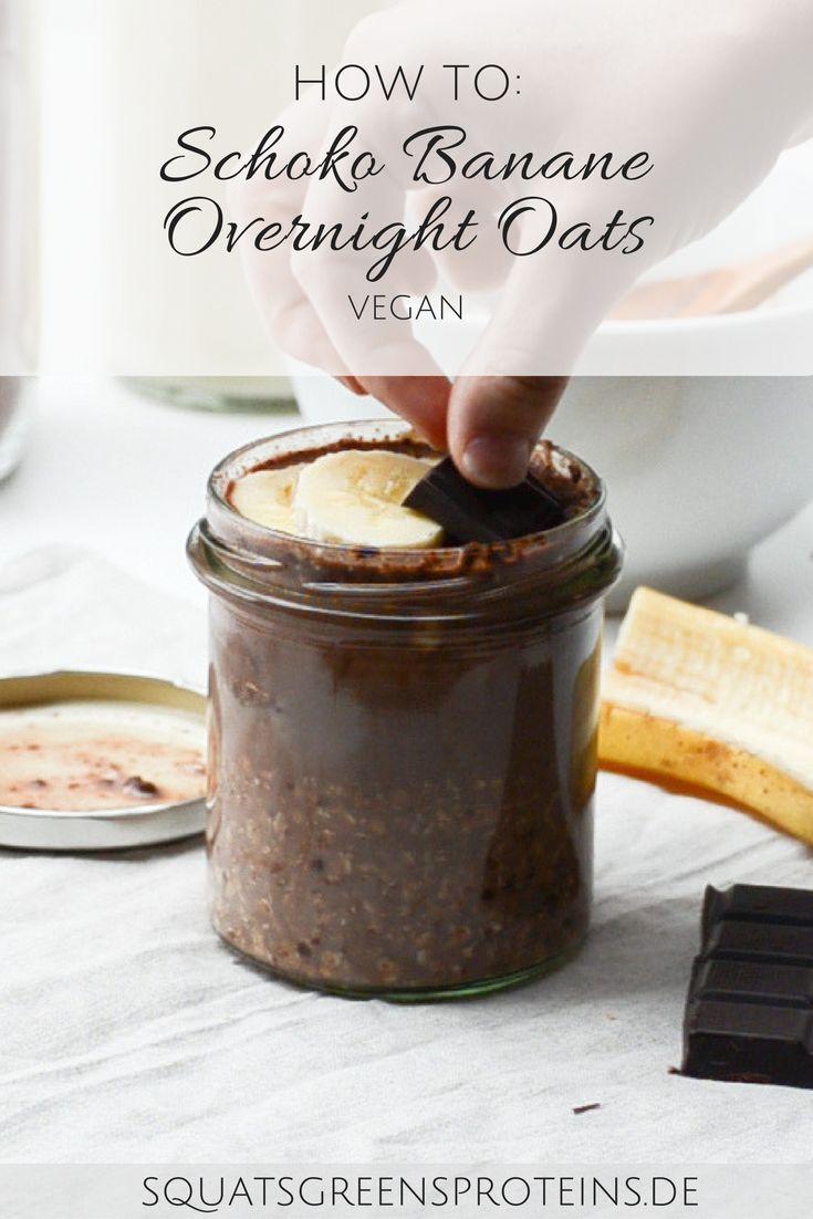 Rezepte für Overnight Oats - so machst du dir ein super leckeres Frühstück! Apfel Joghurt und Schoko Banane - So ist für jeden etwas dabei. Einfache vegane Frühstücksidee. Squats, Greens & Proteins