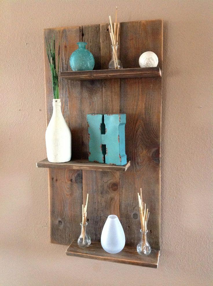 Contemporary Wooden Wall Shelf | Reclaimed wood modern wall shelf by DelHutsonDesigns on Etsy