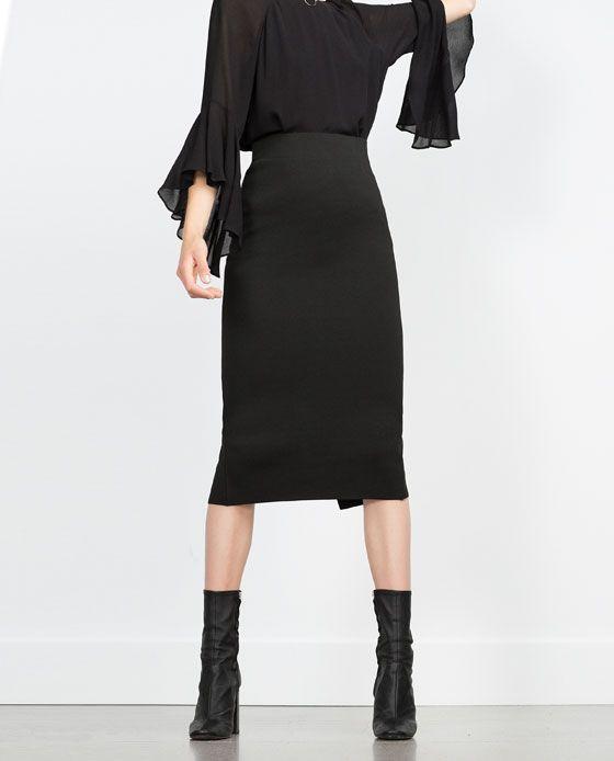 outfit. pencil skirt, falda tubo, straight skirt, falda de tubo negra, falda midi recta, falda midi tubo. Zara
