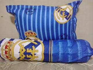 Bantal Dan Guling Tabung Silikon Plus Sarung Real Madrid