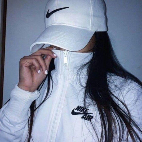 Jacket: nike air white black nike air urban hat nike sportswear black... ❤ liked on Polyvore featuring random and nike