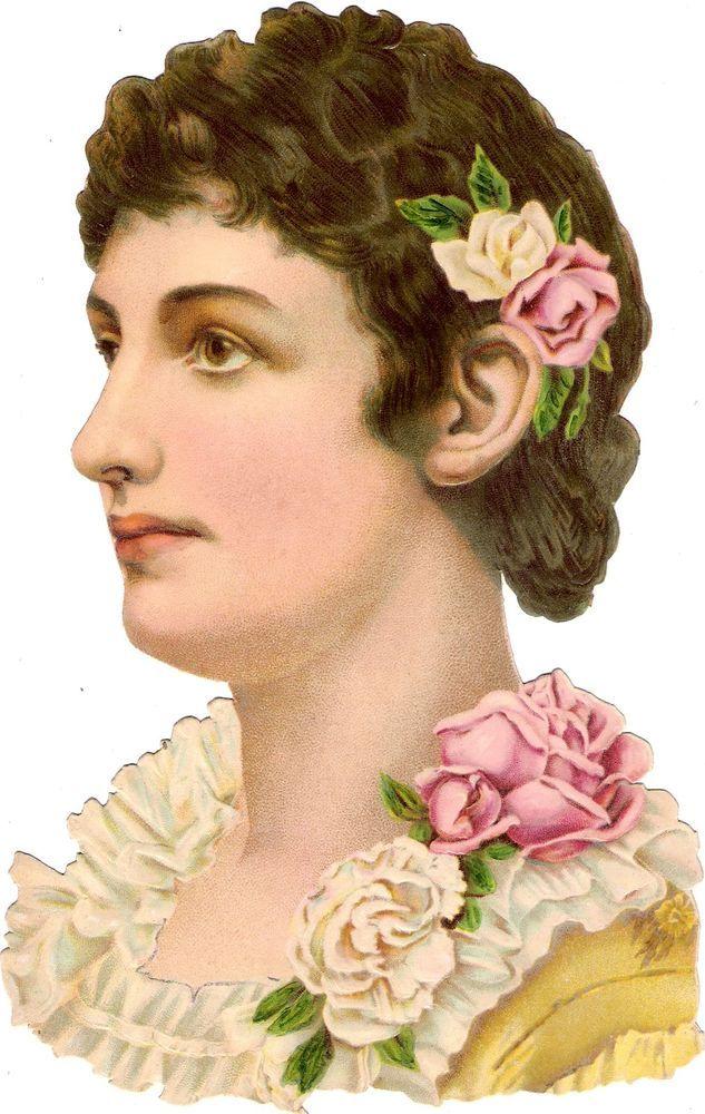 Oblaten Glanzbild scrap diecut chromo Dame 22,5cm lady head buste portrait femme: