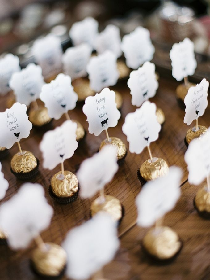 chocolate escort cards | Rachel Solomon Photography | Glamour & Grace