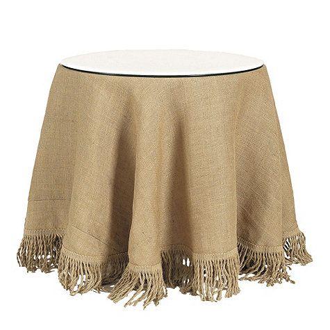 Burlap Tablecloth with Jute Fringe