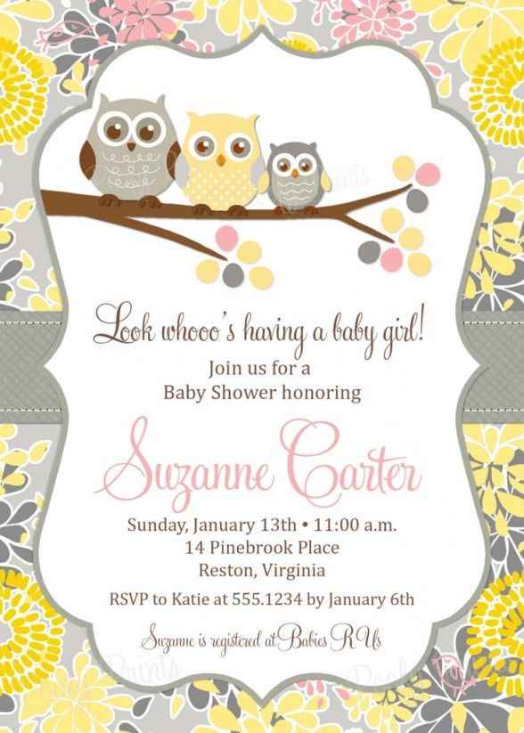 Baby Shower Invitations : Free Printable Owl Theme Baby Shower Invitation with Floral Pattern Border and Cute Triple Owl Clip Art Design Ideas - Baby Shower Invitations For Girls Templates