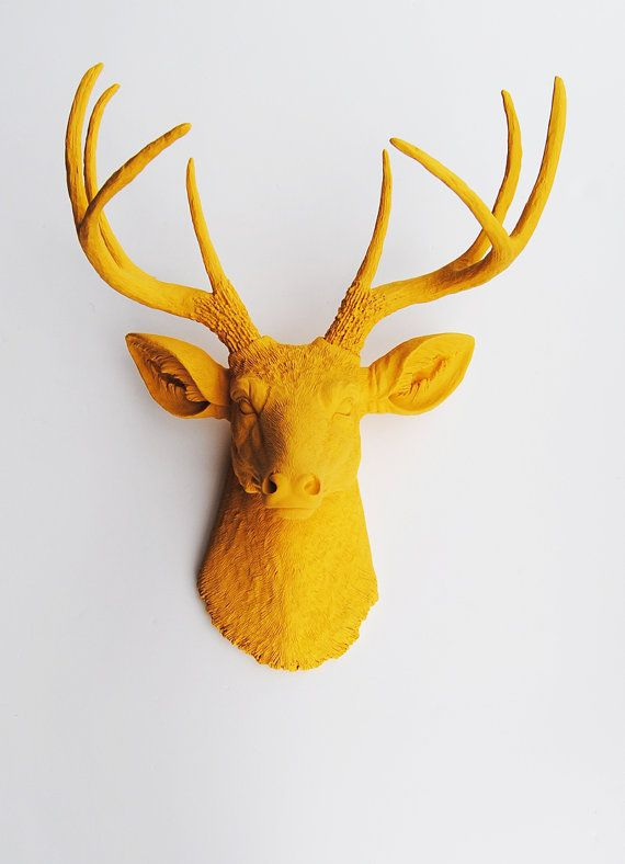 Fake Deer Head - The Victoria - Mustard Yellow Resin Deer Head- Stag Resin Mustard Yellow Faux Taxidermy- Chic  Trendy via Etsy