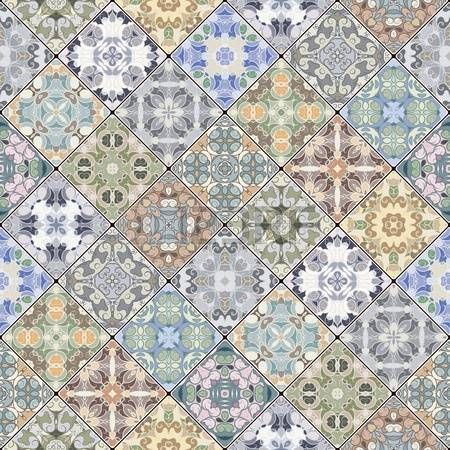 mozaika orientalna: Abstract patterns in the mosaic set. Square scraps in oriental style. Vector illustration. Ideal for printing on fabric or paper.