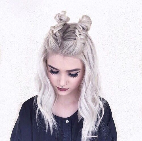 double half up space buns