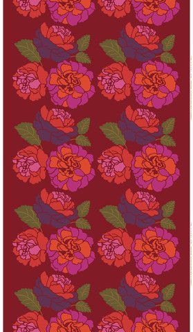 Musta Ruusu Sateen Fabric Red/Green/Purple   Marimekko Upper East Side New York