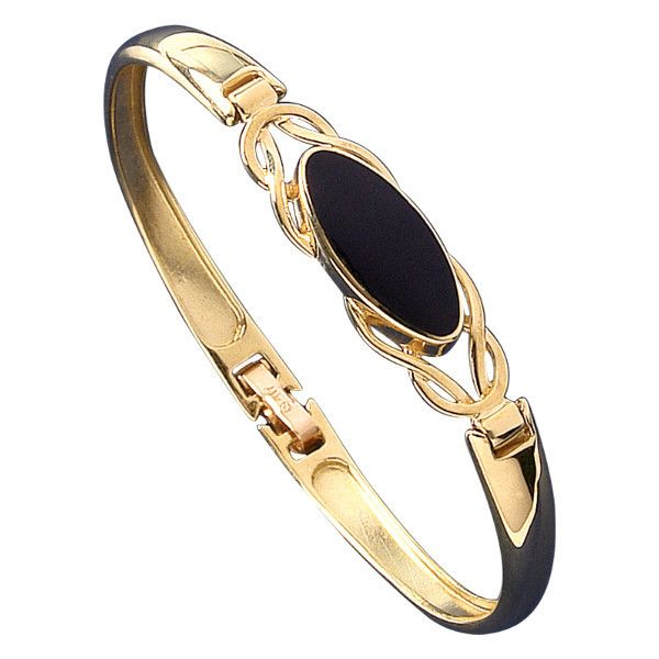 W Hamond Bangle Whitby Jet And Gold Oval Celtic Clip B589 | W Hamond - The Original Whitby Jet Store Est.1860