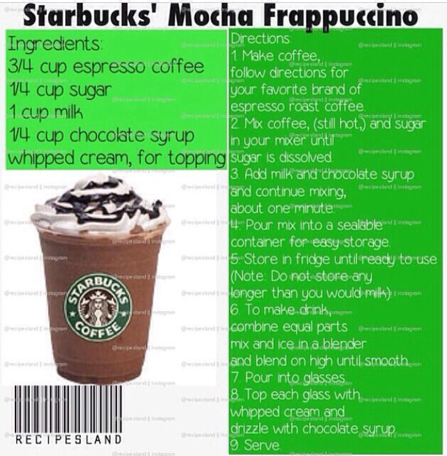 Starbucks Recipes - homemade mocha frappucinno