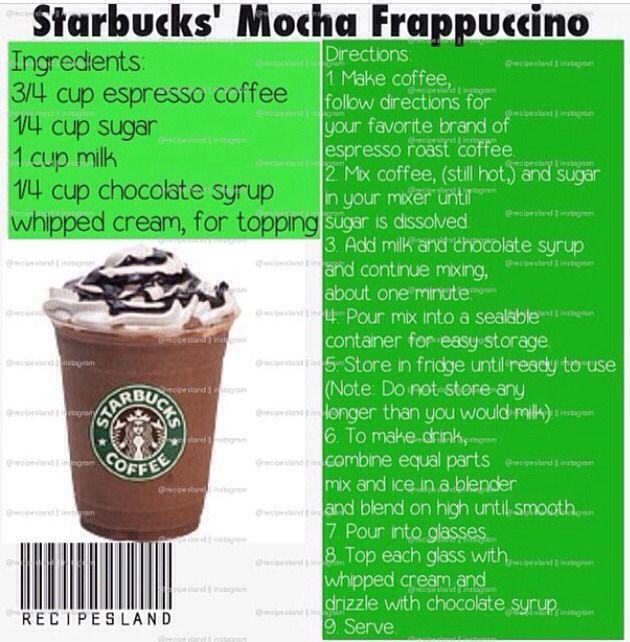 Starbucks Recipes - homemade mocha frappucinno