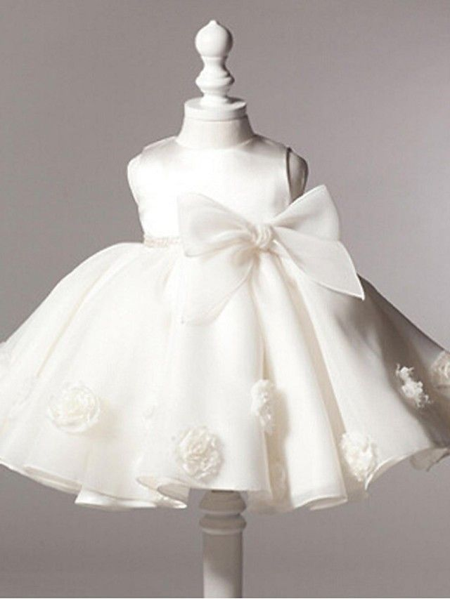 Ball Gown Knee-length Flower Girl Dress - Organza Sleeveless Jewel with Bow(s) / Flower(s) - USD $29.99