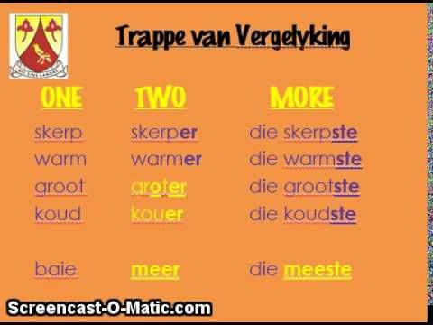 EPS Gr4 Revision Afrikaans: Trappe van Vergelyking - YouTube