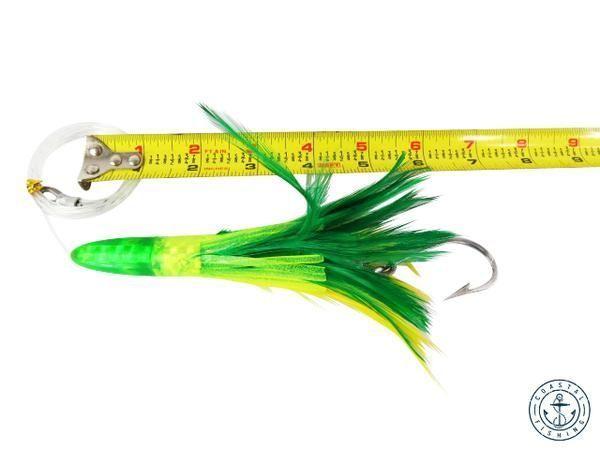 "6"" RIGGED TUNA FEATHER TROLLING FISHING LURES - GREEN $ 7.95. https://www.coastalfishing.com/collections/feather/products/6-rigged-tuna-feather-trolling-fishing-lures-green?utm_content=bufferf4267&utm_medium=social&utm_source=pinterest.com&utm_campaign=buffer #trolling #fishing #lure #TheBest #SaltLife #saltwater"