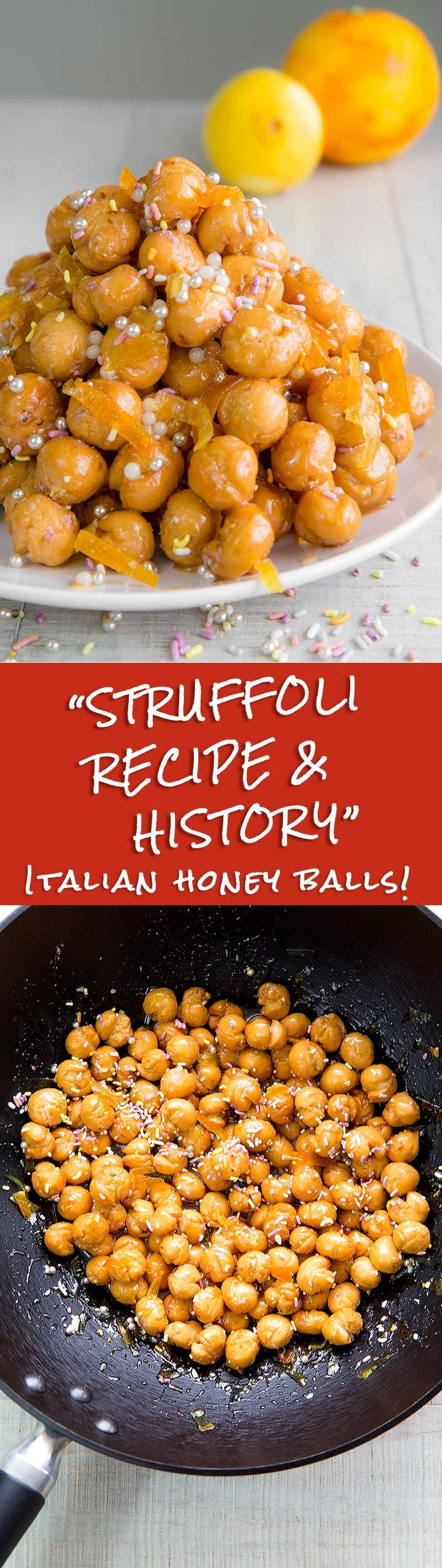 "STRUFFOLI - traditional Italian honey balls - Struffoli recipe, along with Babà, ""Pastiera"", and ""Zeppole di San Giuseppe"", is a classic sweet of the Neapolitan cuisine. Crispy honey balls with a tender heart seasoned with candied fruit, and sugar decorations. In Naples, this is traditionally a Christmas dessert, but in the rest of Italy, these delicious hone balls are a delicacy for all major festivities! - TAGS: desserts dessert recipes cookies Carnival Mardi Gras Christmas dinner family…"