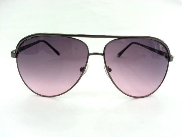 Aviator Medium Grey Purple Metal Sunglasses