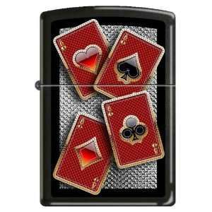Zippo Custom Lighter   Well Suited Card Suites 4 Aces FULL