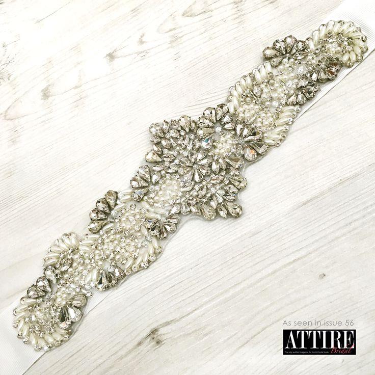 Linzi Jay LBE364 Pearl & Diamante Beaded Bridal Belt