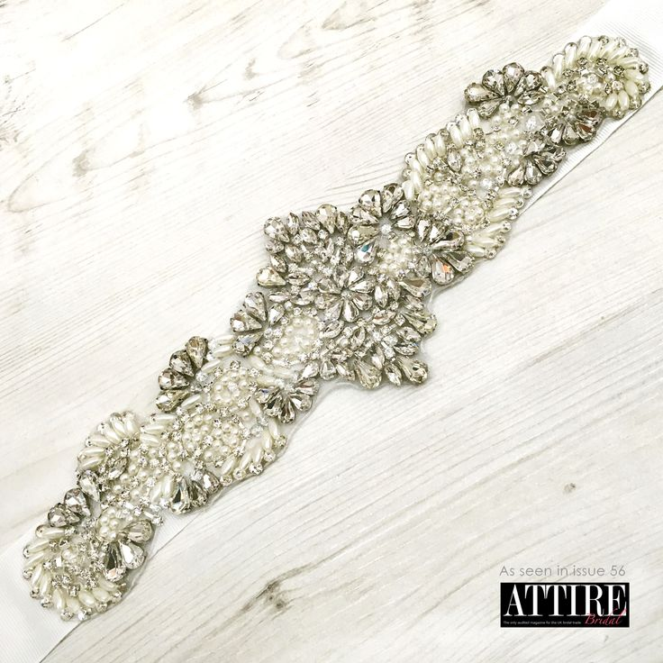 LBE364 Pearl & Diamante Beaded Bridal Belt
