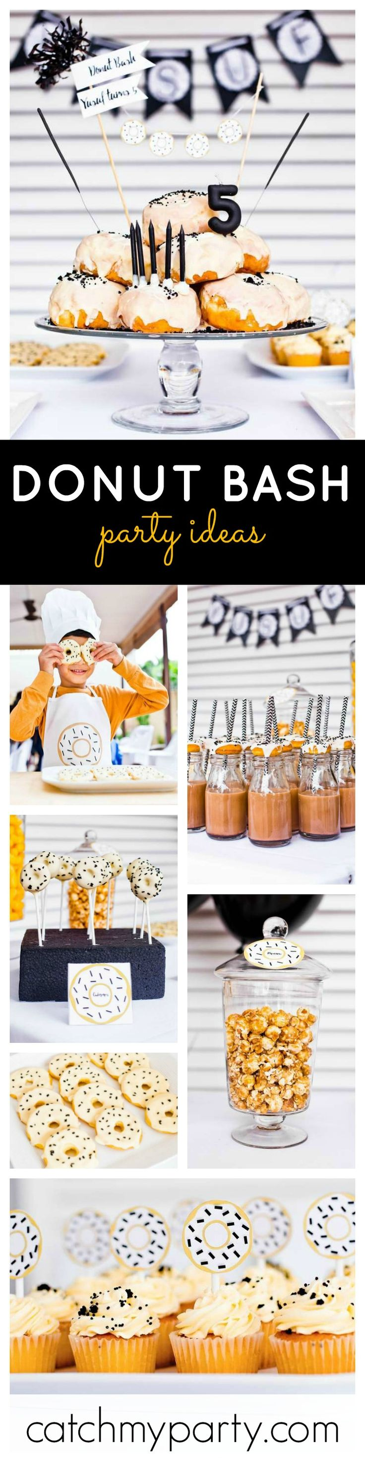 Just love this fabulous black, yellow and white Donut Bash! Just how cool is that Birthday cake?! Truly adorable! See more party ideas at CatchMyParty.com