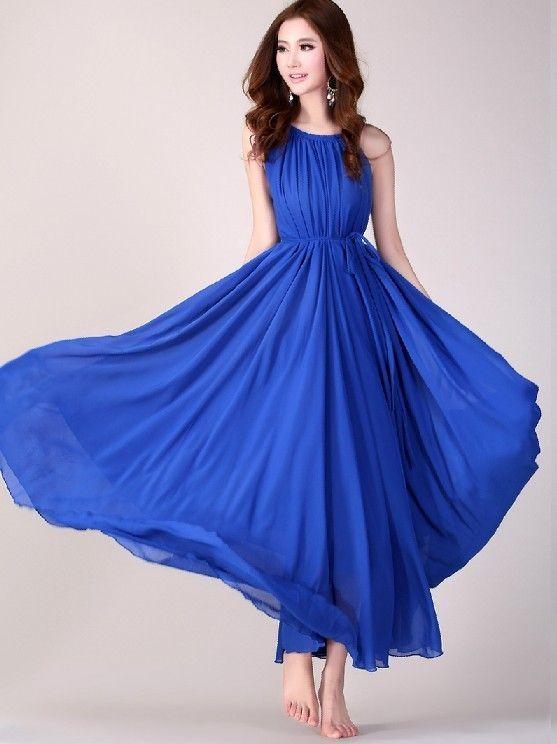 Royal Blue Long Evening Wedding Party Dress Lightweight Sundress Plus Size Summer Holiday Beach