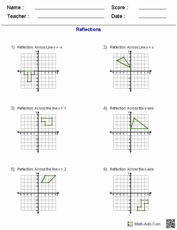 Reflection Math Worksheets Reflection Math Translations Math Transformations Math