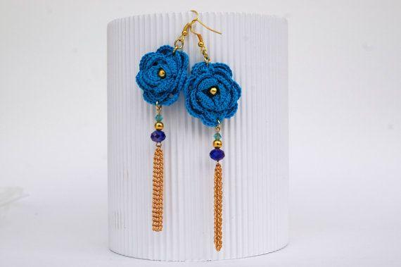 Crochet earring jewelry Large crochet earring Pink by lindapaula