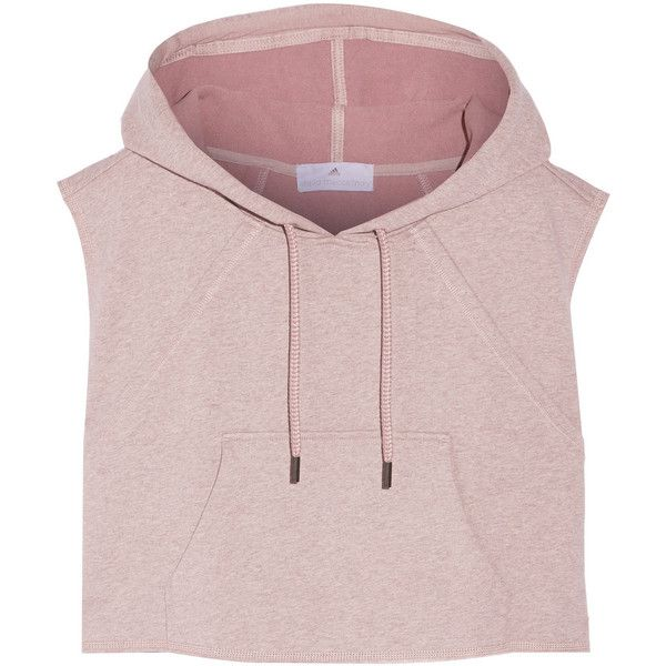 Adidas by Stella McCartney Cropped hooded cotton sweatshirt ($89) ❤ liked on Polyvore featuring tops, hoodies, sweatshirts, shirts, crop tops, purple, cotton jersey, adidas hoodie, purple hooded sweatshirt and pink hoodies