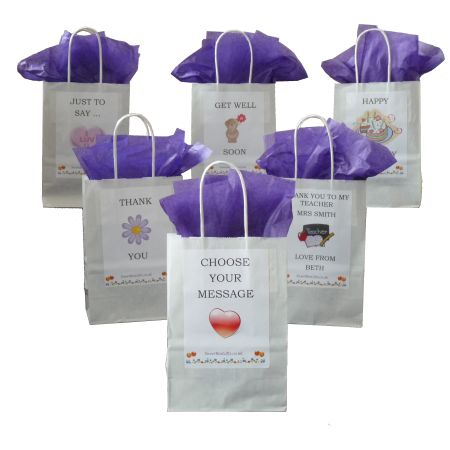 Personalised Sweet Gift Bag These sweet gift bags make perfect presents packed with four 100g bags of your choice of pick and mix favourite sweets. They can be personalised with any picture and/or wording you like and are suitable for any occasion such as birthdays or even just a special thank you gift.