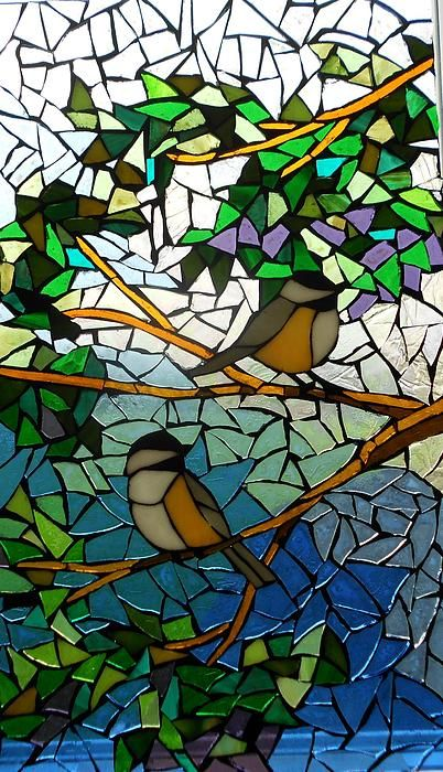Mosaic Stained Glass - Two Little Chickadees Print by Catherine Van Der Woerd