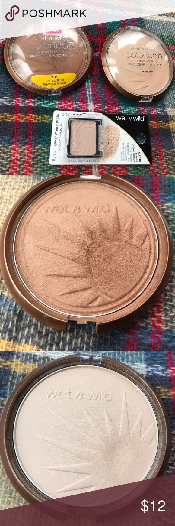 Wet n Wild Color icon bronzers and Brulé eyeshadow Wet n Wild Color icon bronzers SPF 15 (reserve your cabana) (ticket to Brazil ) USED/ brand-new Brule eyeshadow/ comes from a very clean environment and non-smoking home/ thanks for looking Wet n Wild Makeup Bronzer