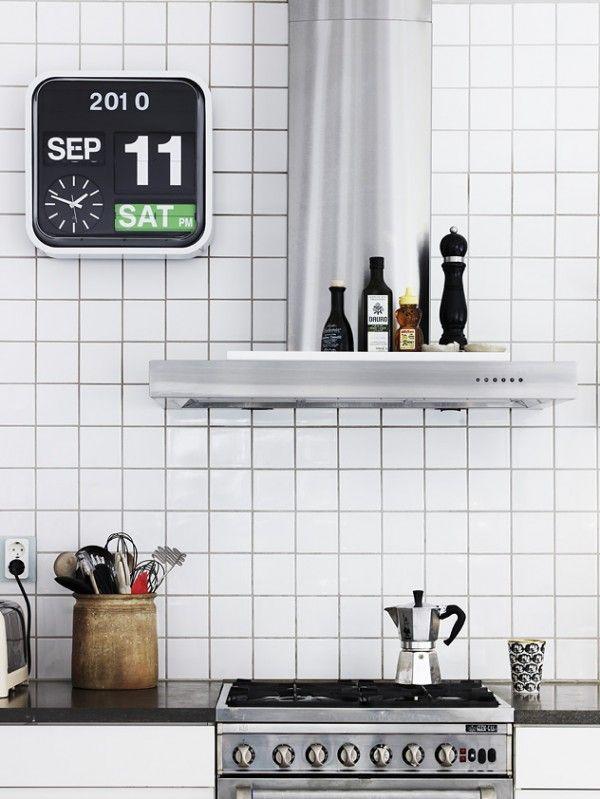 : Decor, White Tile, Idea, Squares, Kitchens Inspiration, Calendar Clocks, Interiors Design, Kitchens Clocks, White Kitchens