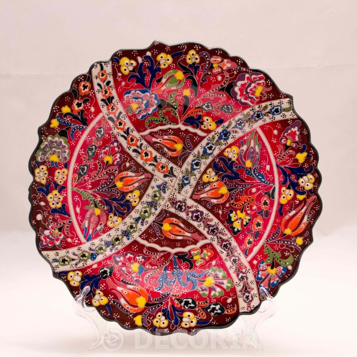 Large Plate - Brown & Red - DECORIA HOME & GIFT