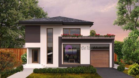 Casa moderna organizata functional pe parter si etaj- Fatada principala| Modern single-family dwelling- The main facade| Etichete: proiect casa, proiecte case, proiecte case cu etaj, proiecte case moderne, case moderne