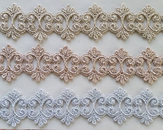 15y Trim  Gold Rose Gold Silver Small Applique Lace  Supply