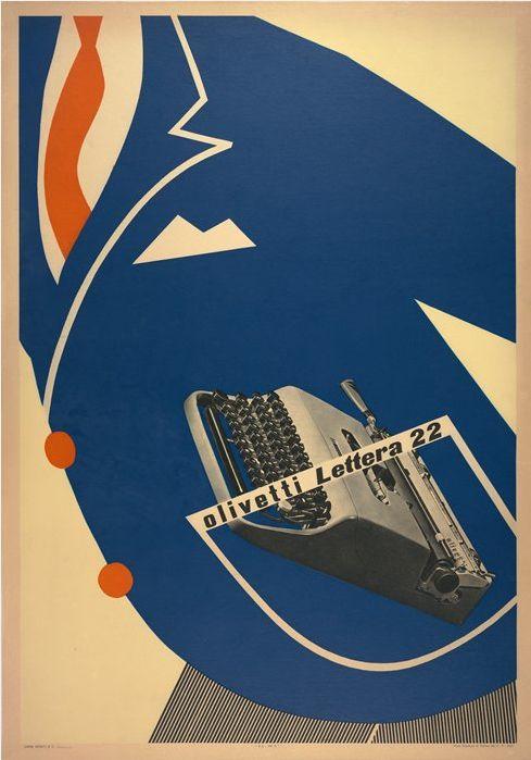 1953 olivetti lettera 22 poster, designed by egidio bonfante