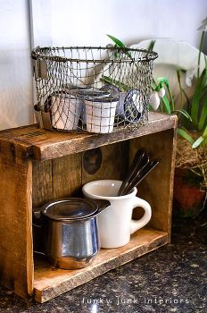 coffee pod storage with a crate and a deep fryer basket, cleaning tips, kitchen design, repurposing upcycling, The create became a rustic shelf of sorts and the basket was the perfect place to grab a new pod at coffee time I love that you can also see the coffee labels as well Simple easy and warm