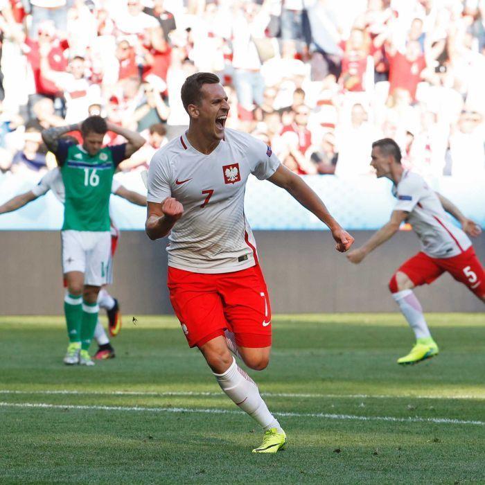 #EURO2016 Arkadiusz Milik celebrates goal against Northern Ireland - Poland's Arkadiusz Milik broke Northern Irish hearts with his winning strike.