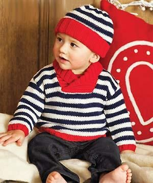 toddler boy's shawl collared sweater and hat, free PDF pattern download.
