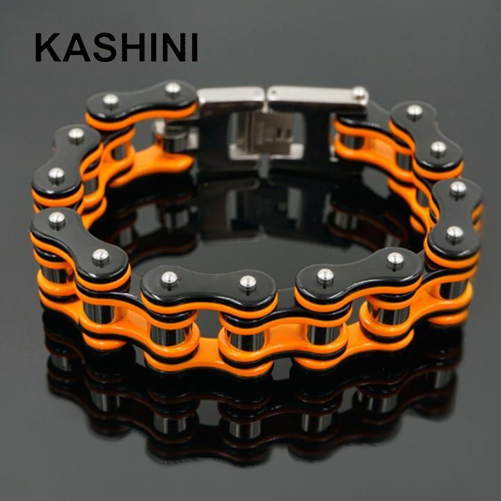 Orange Bicycle Bike Bracelets Motorcycle Chain Black Bracelet