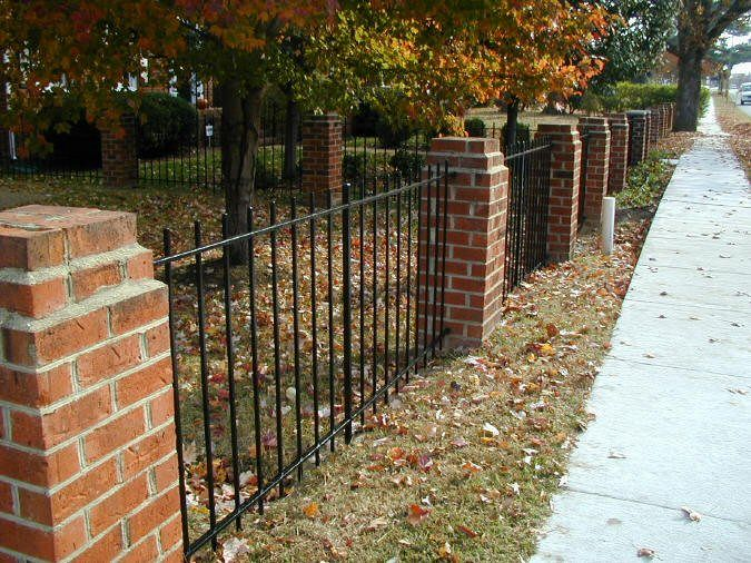 brick and wrought iron fence designs home design
