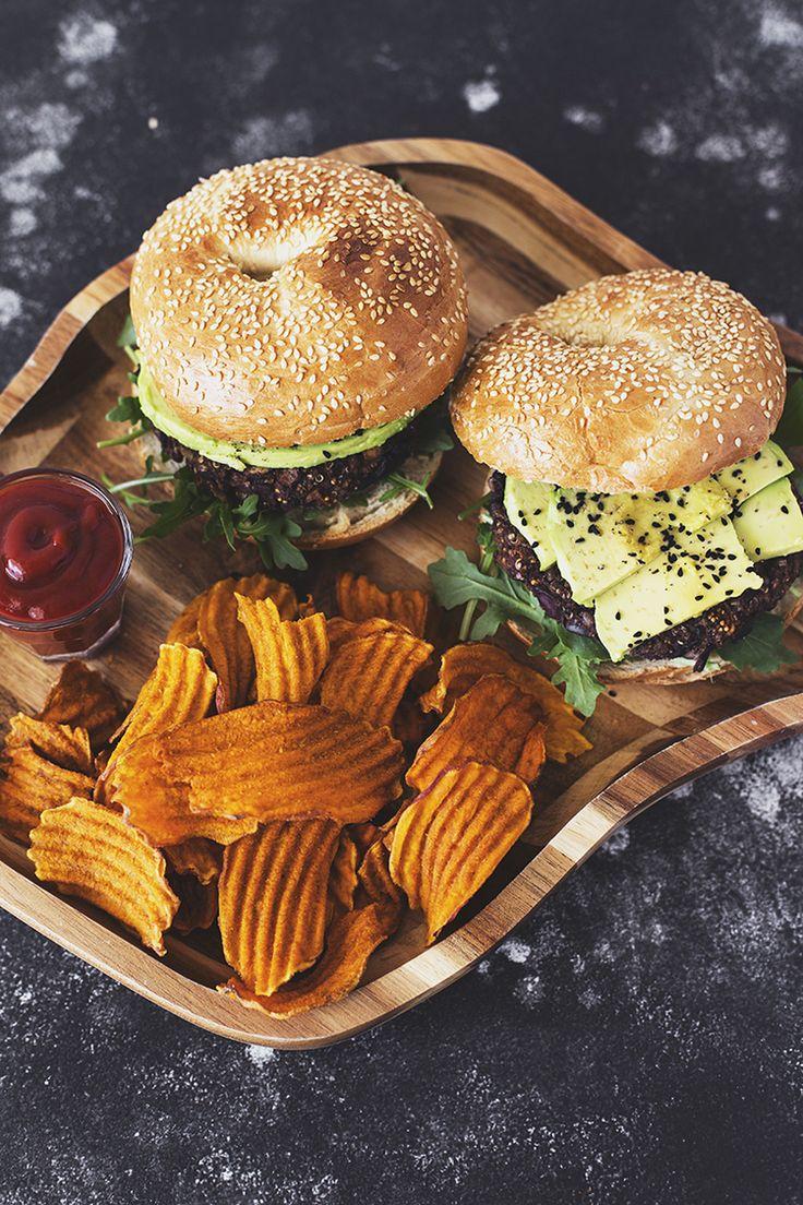 vegan black bean, mushroom, dried fig & olive burger #vegan