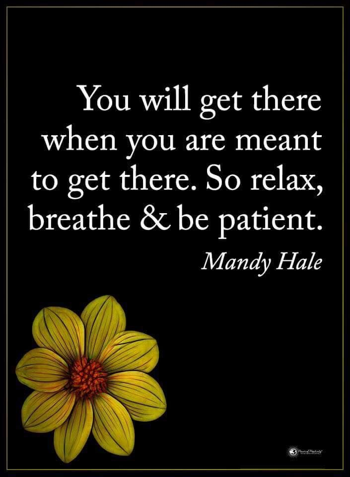 You will get there when you are meant to get there. So relax, breathe & be patient. - Mandy Hale #powerofpositivity #positivewords #positivethinking #inspirationalquote #motivationalquotes #quotes #patient #mandyhale