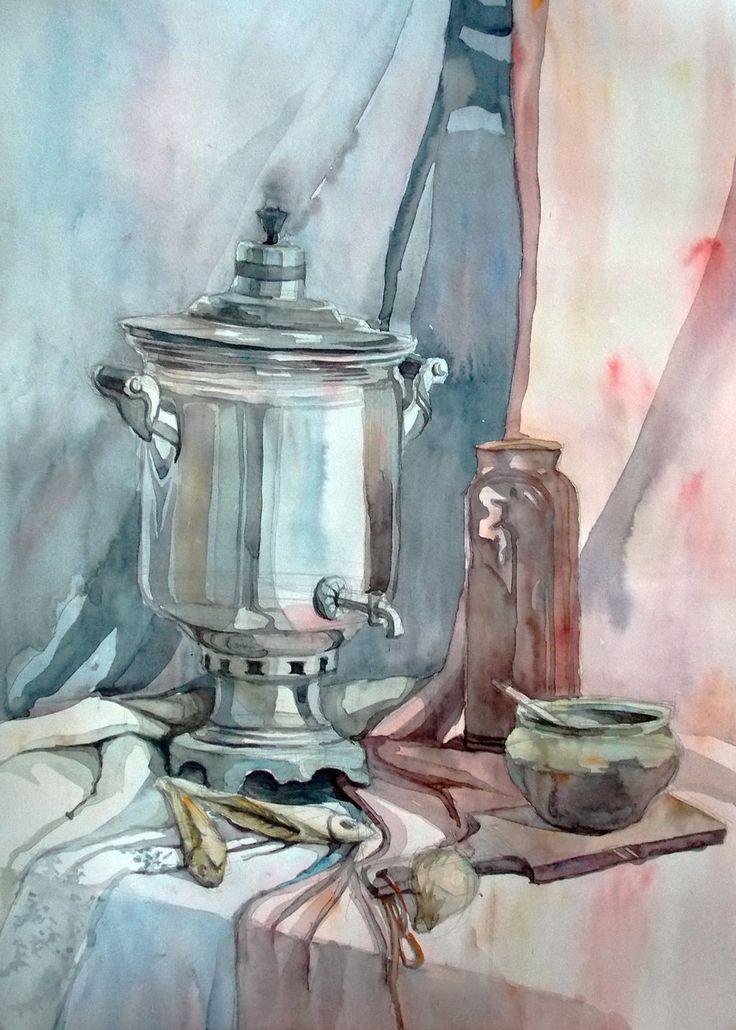 Просмотреть иллюстрацию Натюрморт из сообщества русскоязычных художников автора Аркадий Набиренков в стилях: Академический рисунок, графика, живопись, нарисованная техниками: Акварель.